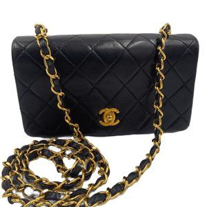 Authentic Chanel Vintage Lambskin Small Full Flap